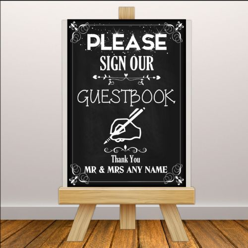 Personalised Vintage Wedding Please sign our Guest book Sign Poster Banner - Chalkboard Style N112